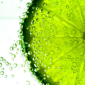 image of a key lime in water